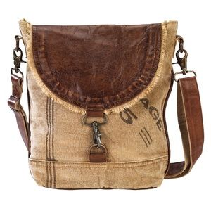 Handbags - NEW Leather Flap Canvas Shoulder Bag